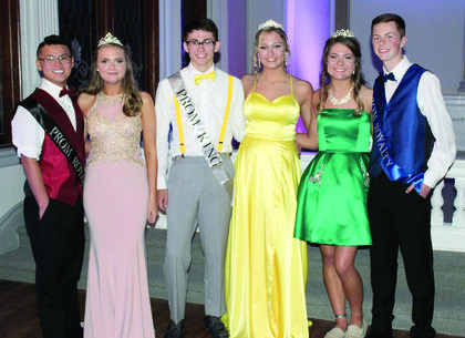 WHS PROM COURT — Junior Duke and Duchess: Liam Funk and Michaela Hodges, Junior King and Queen: Pat Day and Tabi Jordan and Junior Prince and Princess: Mary Kate Shoemaker and Ben Kinsey.